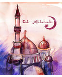 Karte glücklichen Grußes Eid, Eid Mubaraks schöne mit rosa und purpurrotem Aquarellkunsthintergrund Moslemische Moscheenhand geze Stockbild