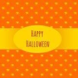 Karte glückliches Halloween auf einem orange Hintergrund stock abbildung