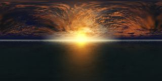 Karte HDRI-hoher Auflösung Panorama des Seesonnenuntergangs, die Ansicht des Ozeansonnenaufgangs, Sonnenuntergang in Meer, tropis Stockfotos