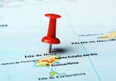 Karte Ibiza-Insel, Spanien Stockfotos