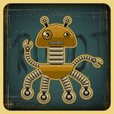 Karte im Retrostil mit dem Roboter Lizenzfreie Stockbilder