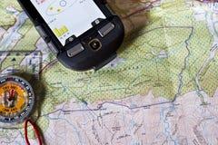 Karte, Kompass und GPS Stockbild