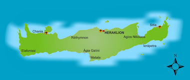 Karte Kreta   Lizenzfreie Stockfotos
