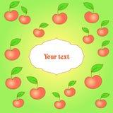 Karte mit Apfelhintergrund Stockbild