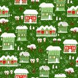 Karte mit Aufkleber Winterhintergrund mit Häusern Stockbild