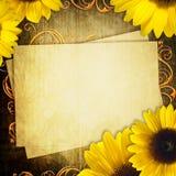 Karte mit Bündel Sonnenblumen lizenzfreies stockfoto