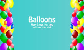 Karte mit Ballonen, die Freude geben Stockfotos