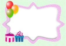 Karte mit Ballonen, Geschenken und Textbox Lizenzfreie Stockfotografie