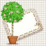 Karte mit Baum im Topf Lizenzfreie Stockfotos