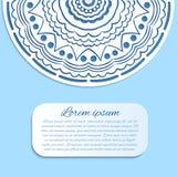 Karte mit blauer und weißer Mandala Stockbild