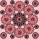 Karte mit Blumen Karte mit einfarbigen Blumen auf einem rosa backgr Stockbilder