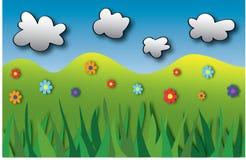 Karte mit bunten Blumen, Gras und Wolken Lizenzfreie Stockbilder