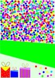 Karte mit bunten Konfettis und Geschenken Lizenzfreie Stockbilder