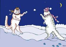 Karte mit den schönen Katzen, die Schneebälle spielen lizenzfreie abbildung