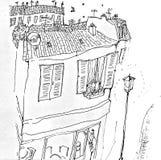 Karte mit der Landschaft von Paris und von Katze auf dem Fenster lizenzfreie abbildung