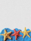 Karte mit drei Starfishes. Lizenzfreies Stockfoto