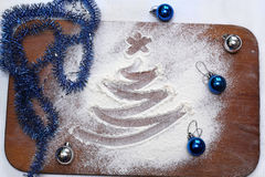 Karte mit einem Baum gezeichnet auf das Mehl Stockfoto