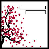 Karte mit einem blühenden Baum Kirschblüte stock abbildung