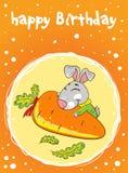 Karte mit einem Hasen auf einem orange Hintergrund mit Karotte stock abbildung
