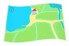 Karte mit einem Haus am See. Stockbilder