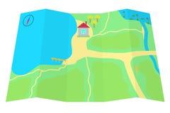 Karte mit einem Haus am See. Lizenzfreies Stockfoto