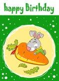 Karte mit einem Kaninchen auf einem grünen Hintergrund mit Karotte stock abbildung