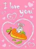 Karte mit einem Kaninchen auf einem rosa Hintergrund mit einem Herzen stock abbildung