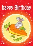 Karte mit einem Kaninchen auf einem roten Hintergrund mit Karotte lizenzfreie abbildung