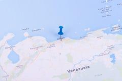 Karte mit einem Stift Stockfotografie