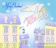 Karte mit Engel und Schneeflocken an der Stadt Stockbilder