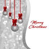 Karte mit funkelndem Weihnachtsflitter und roter Bogen, Band auf silbernem Hintergrund stock abbildung