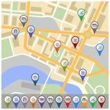 Karte mit gps-Ikonen stock abbildung