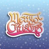 Karte mit handgeschriebenes Zitat frohen Weihnachten Lizenzfreies Stockbild