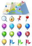 Karte mit Navigations-Ikonensatz Stockbild
