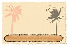 Karte mit Palmen und Vögeln Stockbilder
