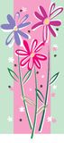 Karte mit rosafarbenen Blumen Stockbilder