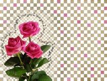 Karte mit rosafarbenen Rosen auf abstraktem Hintergrund Stockfoto