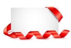 Karte mit roten Geschenkfarbbändern vektor abbildung