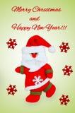 Karte mit Santa Claus, roten Schneeflocken und Text Stockbild
