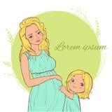 Karte mit schöner blonder schwangerer Frau mit einem Kind Lizenzfreie Stockfotos