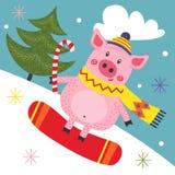 Karte mit Schwein auf Snowboard stock abbildung