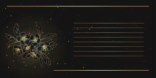Karte mit stilisierter Kirschblüte goldene blühende Kirsche im Th Lizenzfreie Stockfotografie