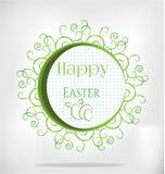 Karte mit Text fröhliche Ostern, drei weiße Eier Lizenzfreie Stockfotos