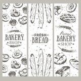 Karte mit unterschiedlichem nettem Brot Brotfahnensammlung Stockbild