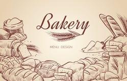 Karte mit unterschiedlichem nettem Brot Die Hand, die gezeichnet wird, Brotbäckereibagel kochend, paniert Gebäck backen backenden lizenzfreie abbildung