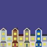 Karte mit vier Häusern Lizenzfreies Stockfoto