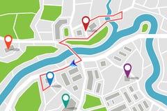 Karte mit Weg und gps-Zeigern vektor abbildung