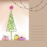 Karte mit Weihnachtsbaum und Geschenken Stockbild