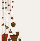 Karte mit Weihnachtskugeln Stockbilder
