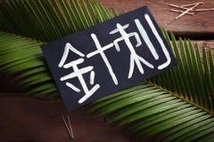 Karte mit Wort AKUPUNKTUR auf Chinesisch lizenzfreie stockfotos